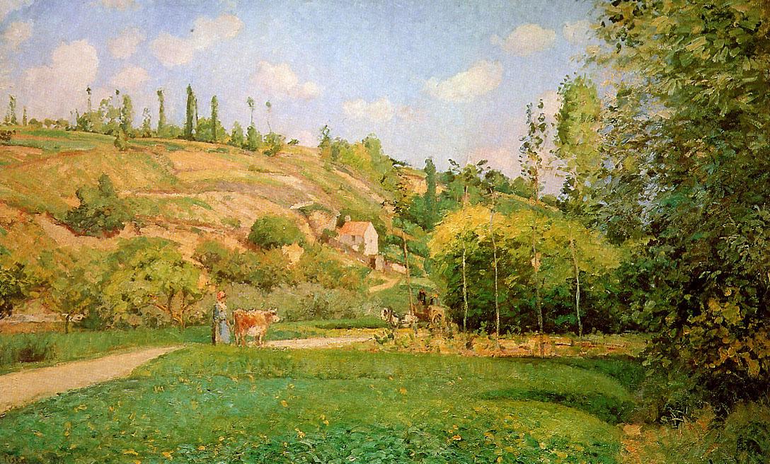 Камиль Писсарро. Пастушка на дороге, Овер-сюр-Уаз