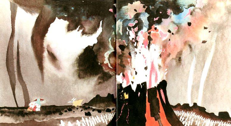 """Туве Янссон. Иллюстрация для книги """"Опасное путешествие"""". Извержение вулкана"""