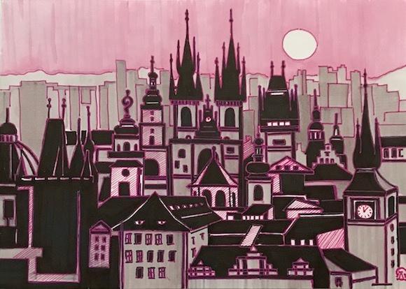 Лариса Луканева. Прага. Скетч.