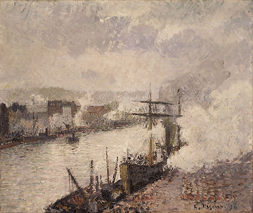 Камиль Писсарро. Пароходы в порту Руана