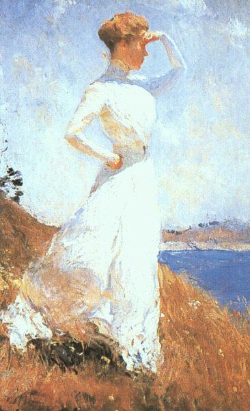 Фрэнк Уэстон Бенсон. Девушка в белом платье смотрит вдаль