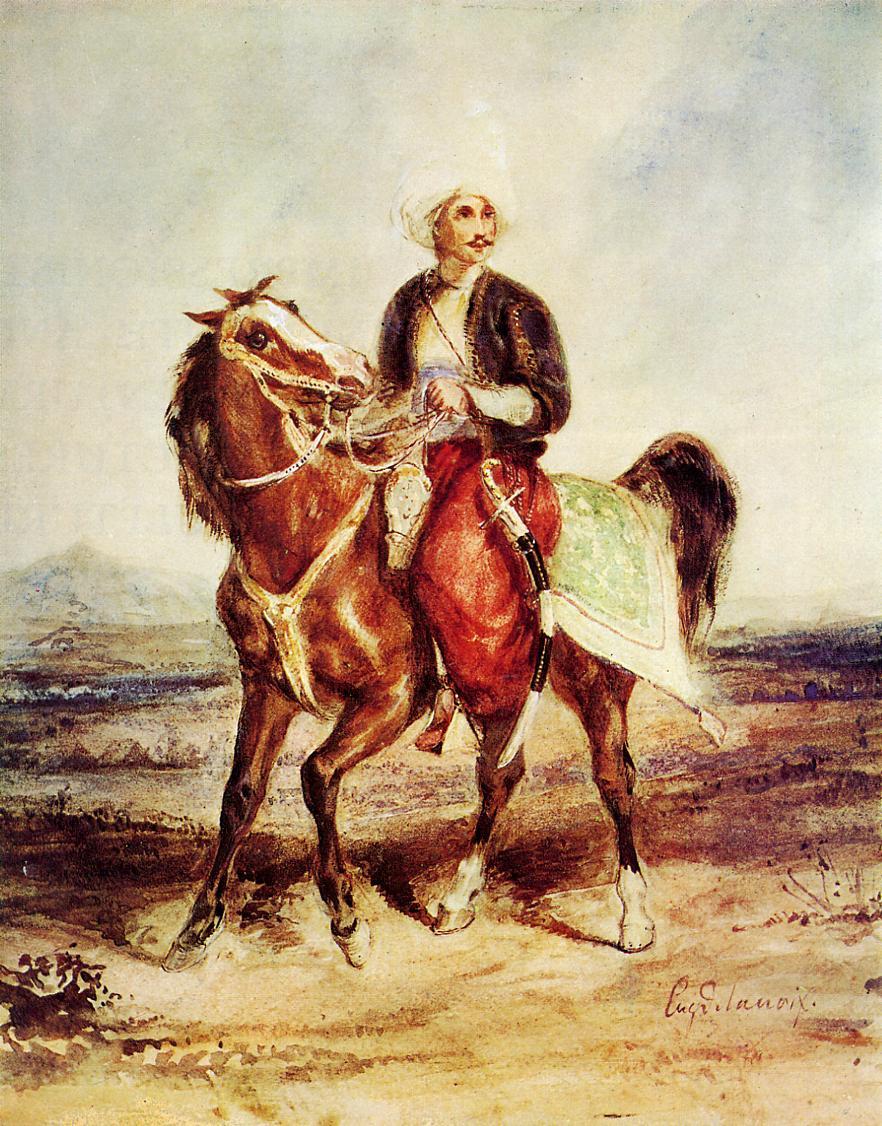Eugene Delacroix. The Turkish rider in a landscape