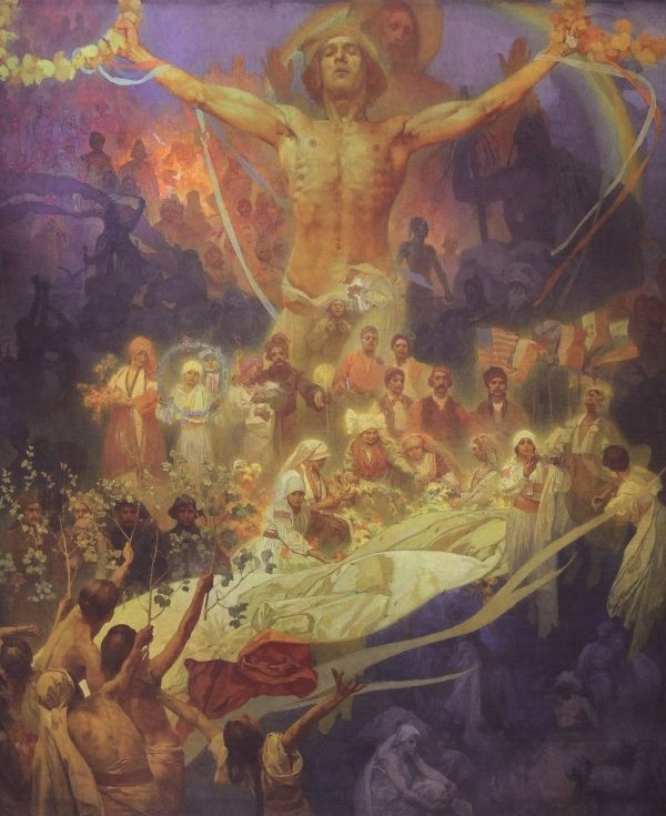 "Alfons Mucha. The apotheosis of the history of the Slavs. From the series ""the Slav epic"""
