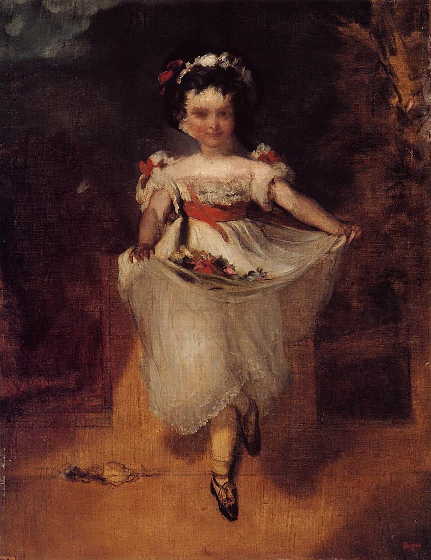 Edgar Degas. Little girl carrying flowers in her apron