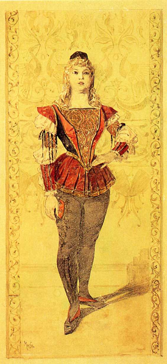 """Alfons Mucha. Costume Paige. Sketch illustration for the magazine """"costume in the theatre"""""""