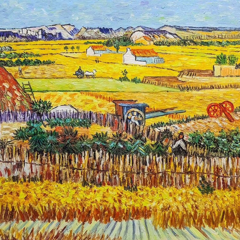 """Andrzej Vlodarczyk. A copy of Van Gogh's painting """"The Harvest at La Cros, and Montmajor in the background"""""""