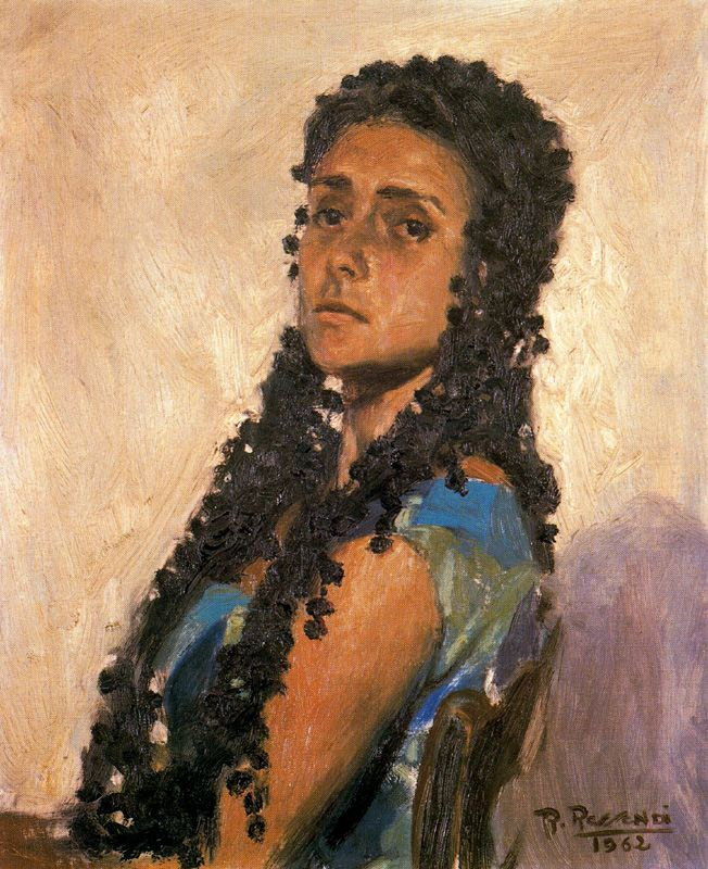 Baldomero Romero Ressendi. A woman with long curly hair