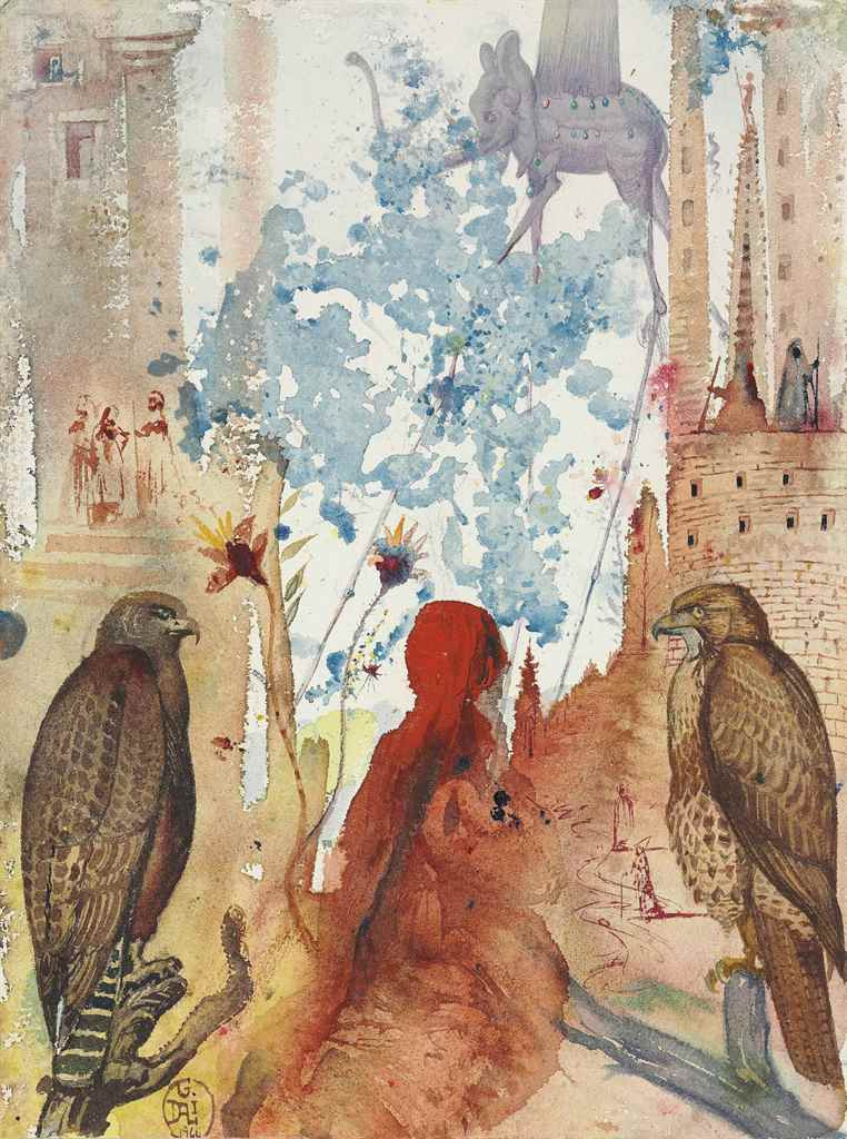 Salvador Dali. Two of the hawk and elephant figure