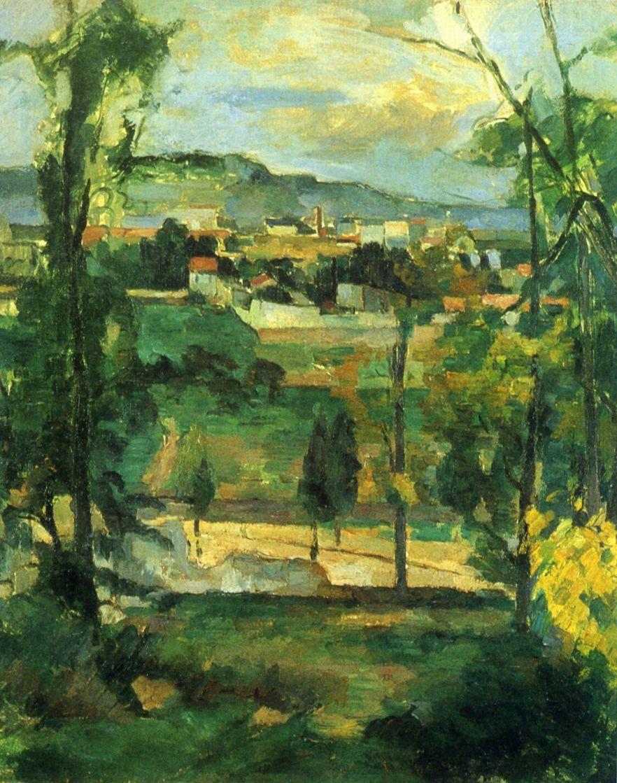 Paul Cezanne. Village behind trees, Ile de France