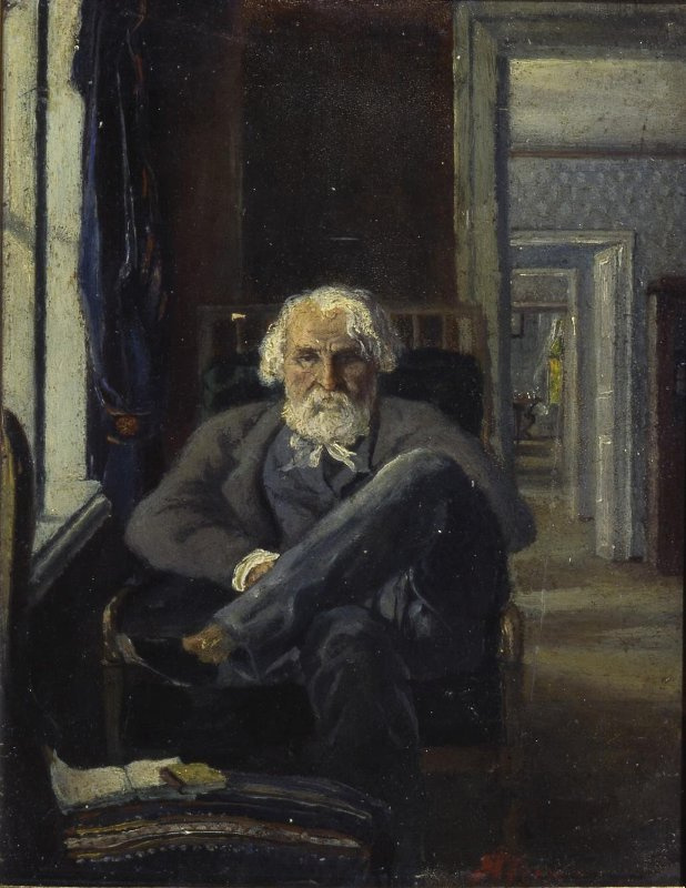 Yakov Petrovich Polonsky. Portrait of I. S. Turgenev in Spassky-Lutovinov's rooms
