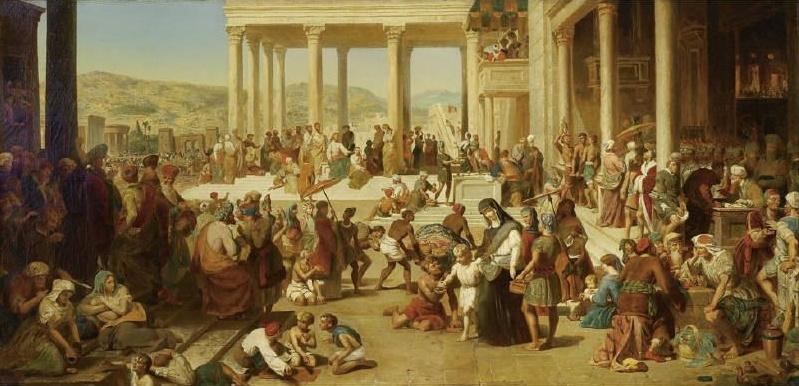 Eugene Delacroix. The scene in front of the temple in Jerusalem