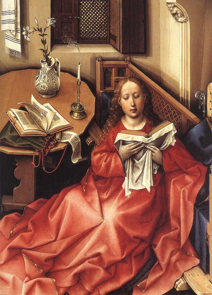 Robert Kampen. The Altar Of Merode. The Annunciation Of The Blessed Virgin. Central scene: the Annunciation. Fragment I