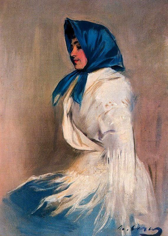 Рамон Касас Карбо. Портрет испанки в синем платке (Портрет Джулии)