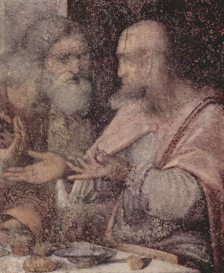 Leonardo da Vinci. The last supper (fragment)