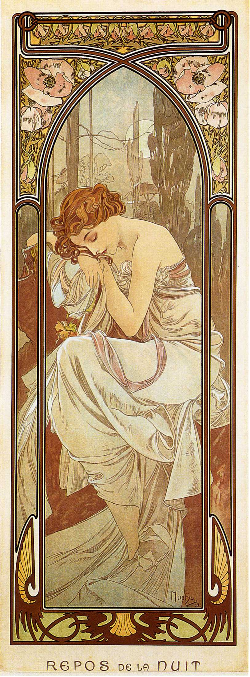 Alfons Mucha. Night's rest. Series times of the day