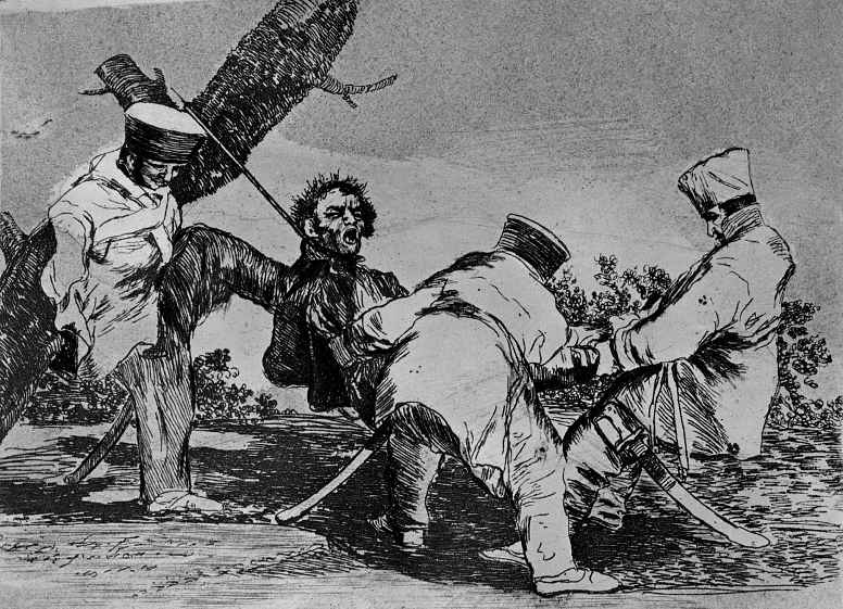 """Francisco Goya. The series """"disasters of war"""", page 32: For what?"""