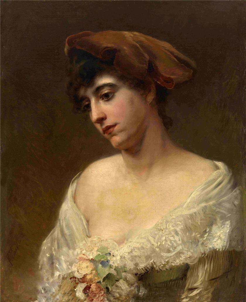 Konstantin Makovsky. Portrait in red beret