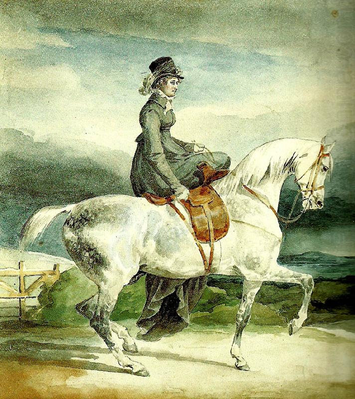 Théodore Géricault. Englishwoman on horseback ride