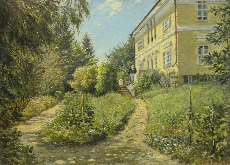 """Yakov Petrovich Polonsky. Estate A. A. Fet """"Sparrow"""", Kursk province. Terrace at home"""