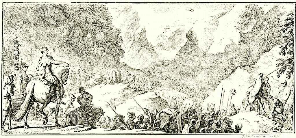 Даниэль  Николай Ходовецкий. Переход Цезаря через Пиренеи