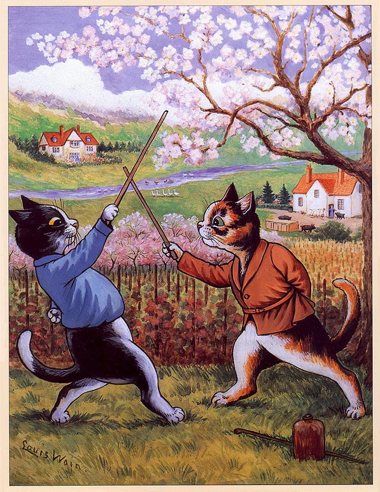 Louis Wain. Cat fencing