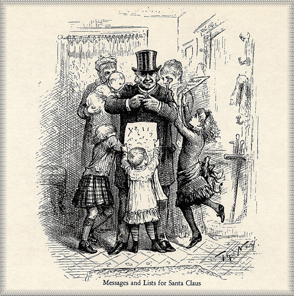 Thomas Nast. 16 Messages and lists for Santa Claus