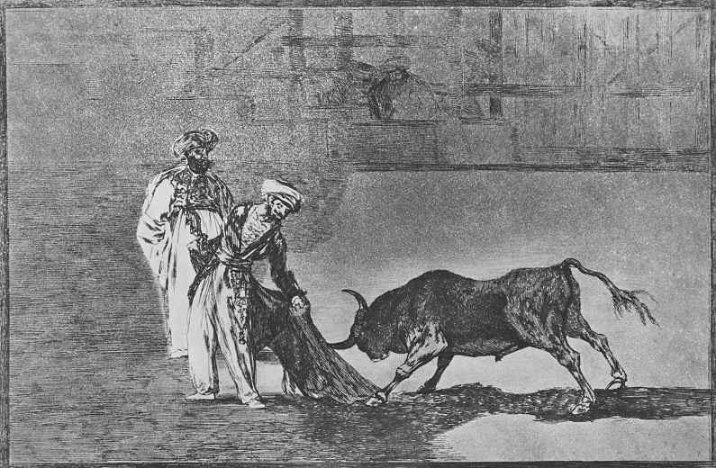 """Франсиско Гойя. Серия """"Тавромахия"""", лист 04: В другом случае они дразнили быка плащом на огороженном участке"""