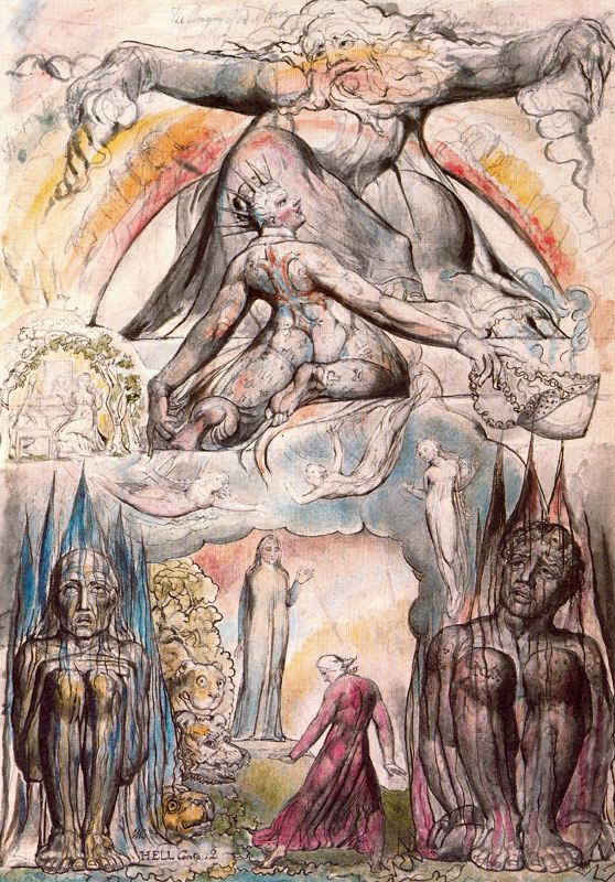 """William Blake. The Mission Of Virgil. Illustrations for """"the divine Comedy"""""""