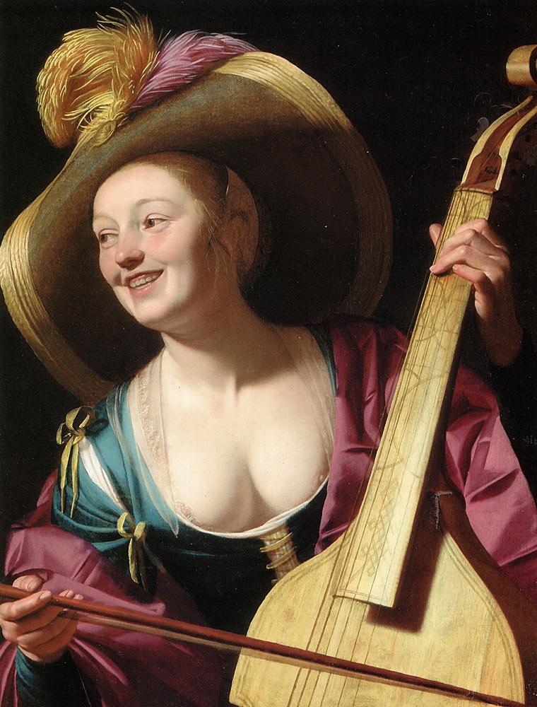 Геррит ван Хонтхорст. Молодая девушка играет на виоле