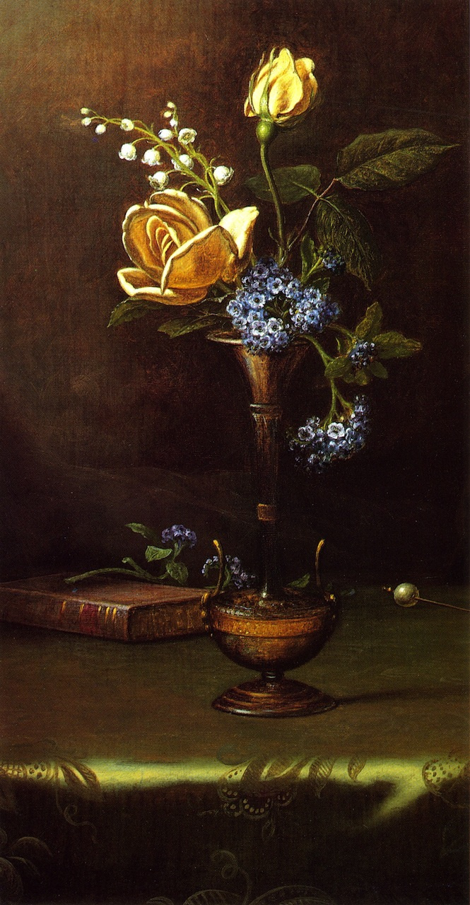 Martin Johnson Head. Still-life with flowers, book and hairpin for hair