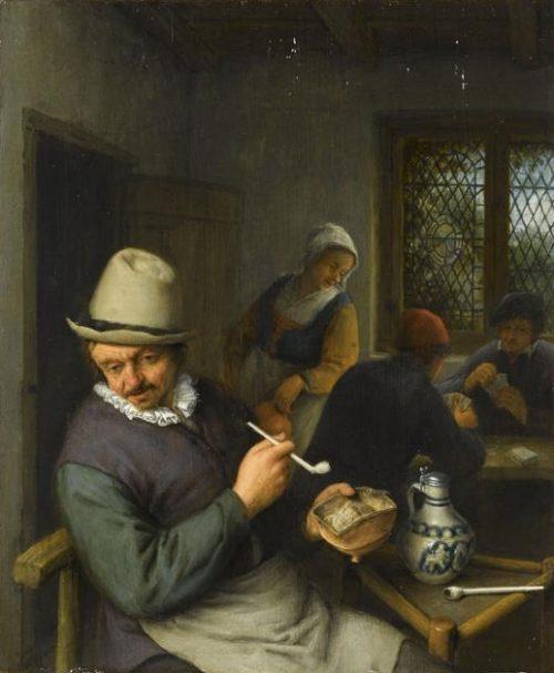 Adrian Jans van Ostade. Smoking man at the tavern