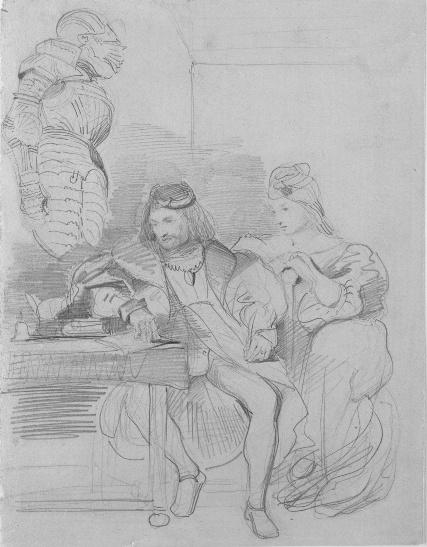 """Eugene Delacroix. Goetz götz von berlichingen writing his memoirs (sketch Goethe's """"götz von berlichingen"""")"""