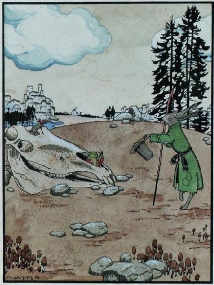"""Георгий Иванович Нарбут. Illustration for the fairy tale """"Teremok"""". Hare"""