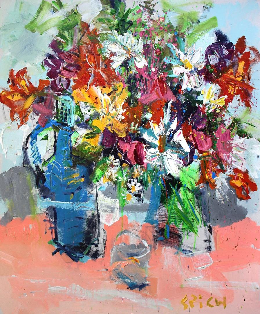 Ilya Pavlovich Spichenkov. Bouquet with wicker decanter
