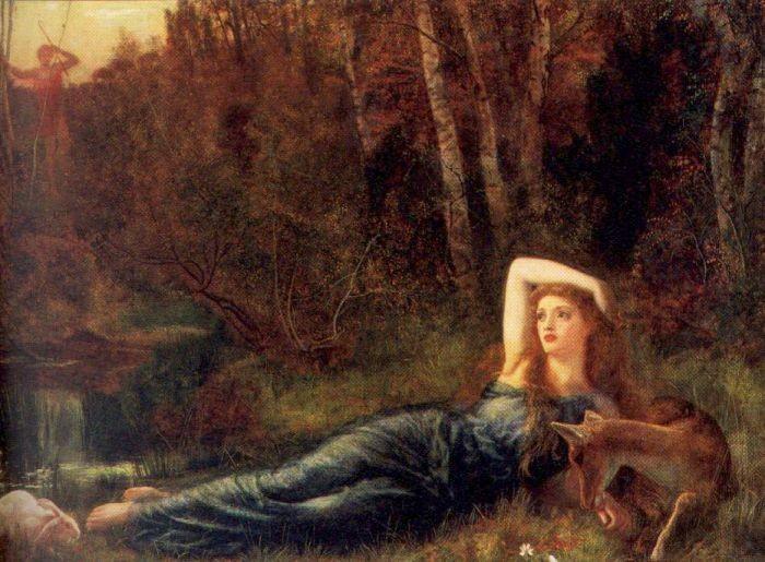 Артур Хьюз. Лежащая девушка в лесу