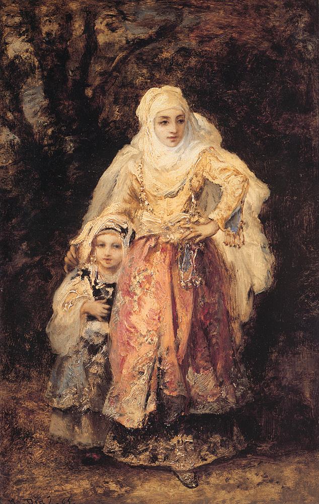 Нарсис Виржилио Диас де ла Пёнья. Мать обнимает ребенка