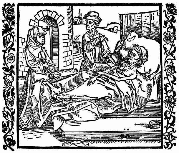 Альбрехт Дюрер. Скупая женщина ложится смертельно больная подле башни с сокровищам