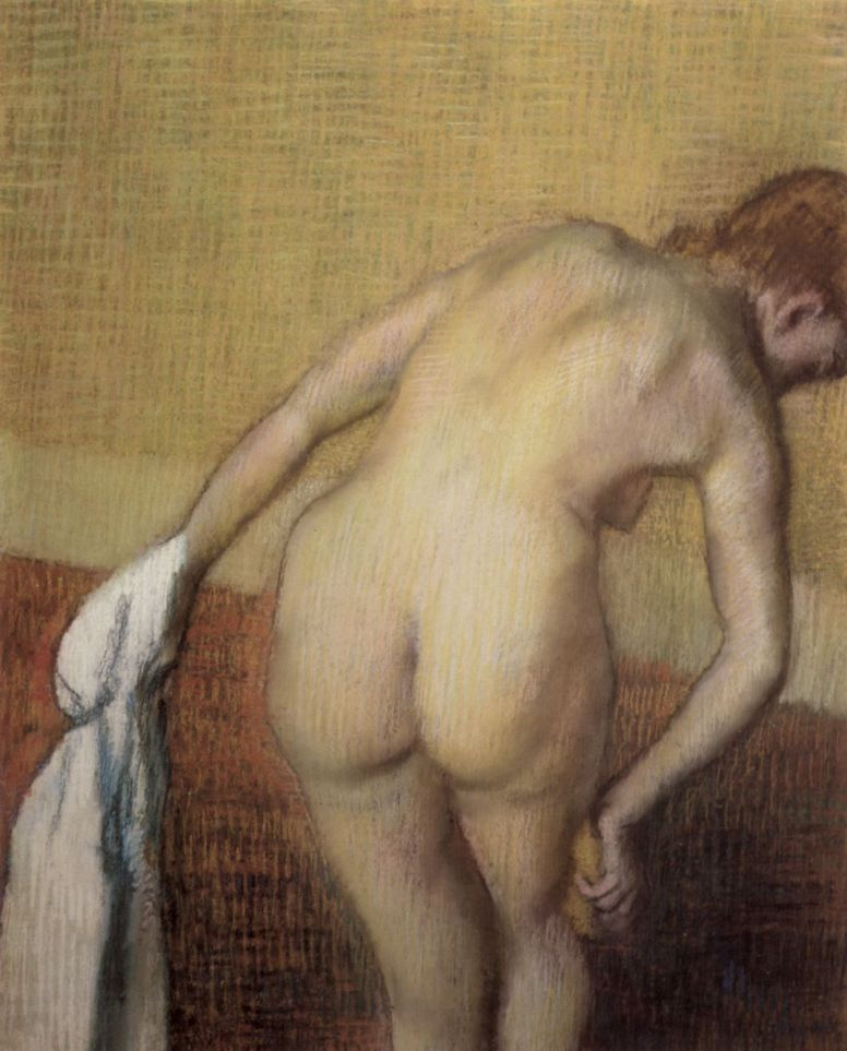 Edgar Degas. Nude from the back with towel and sponge