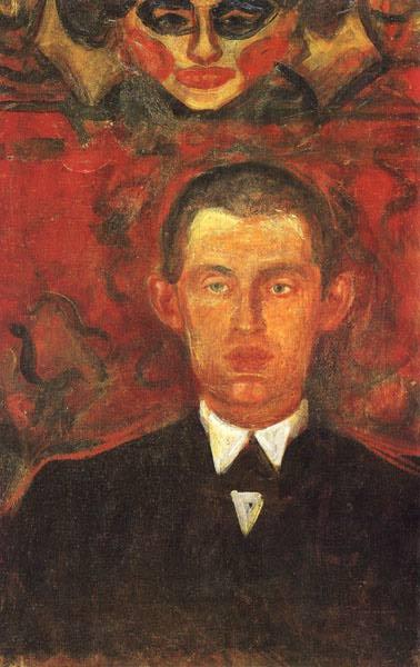 Edward Munch. Self-portrait beneath a female mask