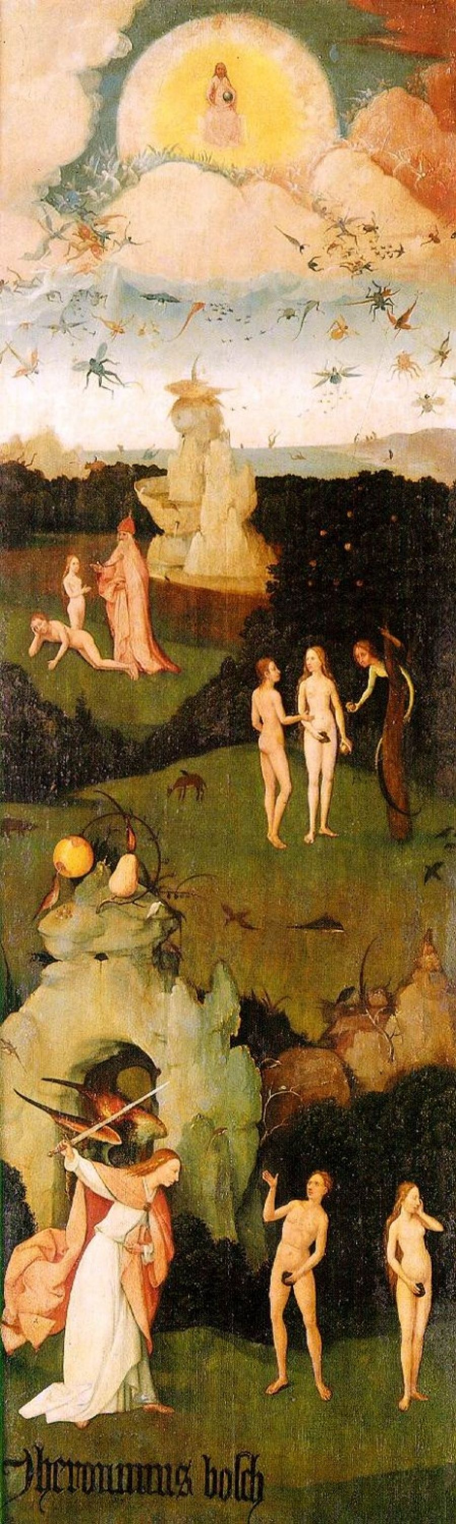 Hieronymus Bosch. The hay-cart. Left wing of a triptych. The expulsion from Paradise