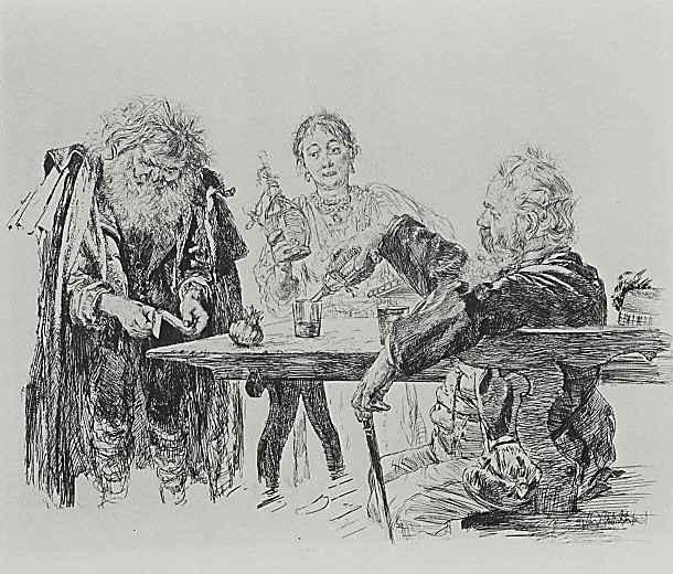 Адольф фон Менцель. Сцена в итальянском трактире