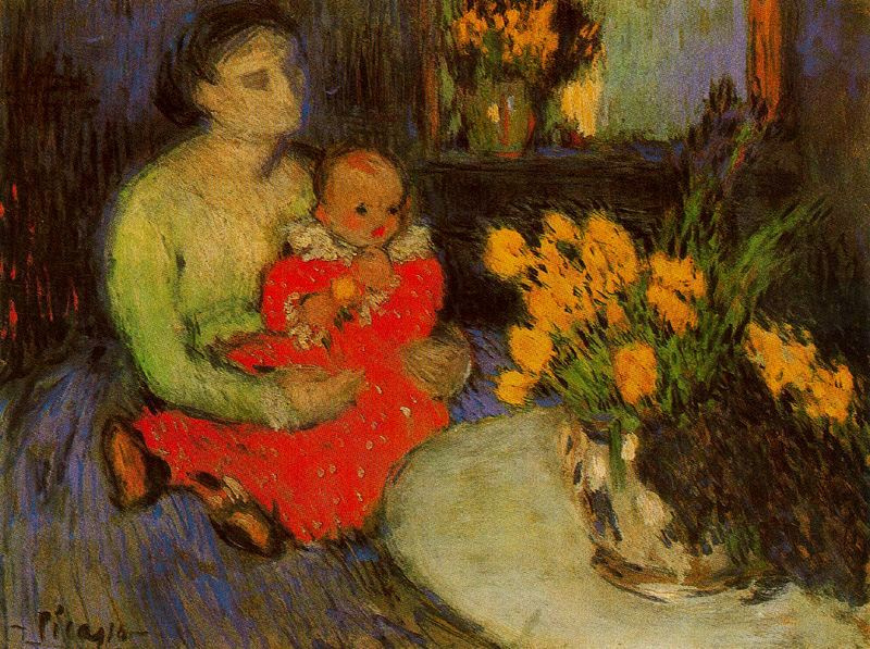 Пабло Пикассо. Мать и ребенок рядом с букетом цветов
