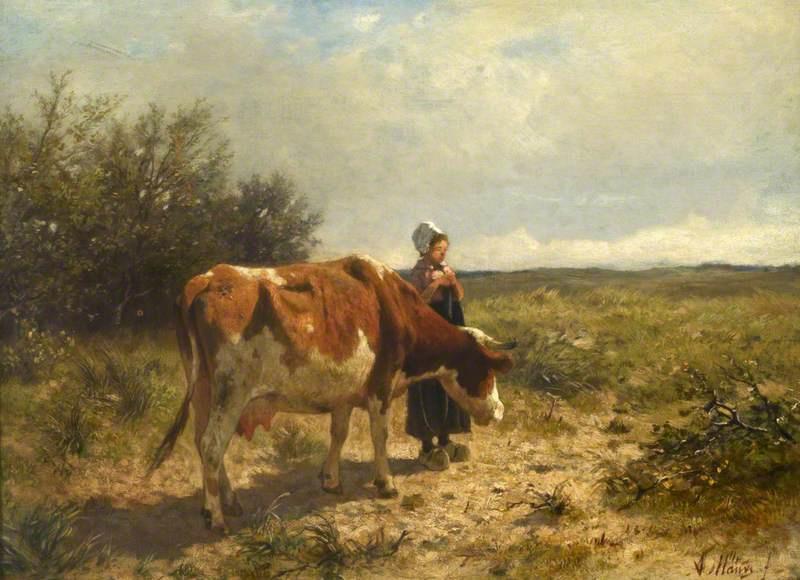 Anton Maouve. A Dutch milkmaid
