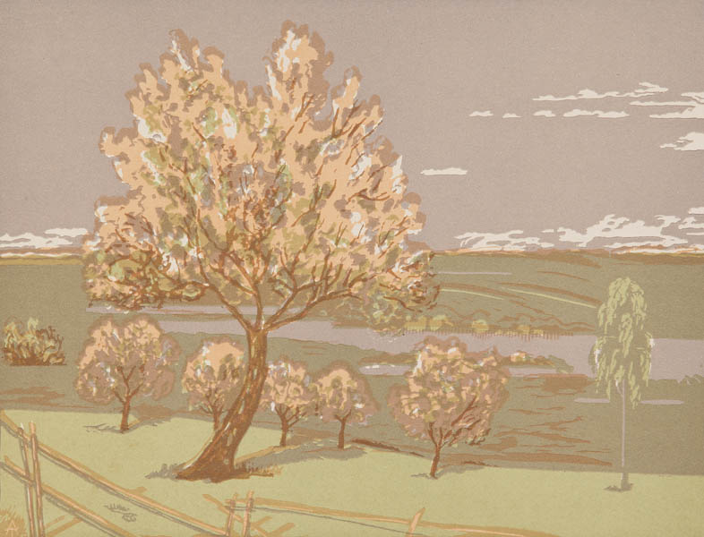 Anatoly Tychina Nikolaevich.. Scenery. 1970s Color linocut on paper. L. 29.5x39.5. I. 26.5x34.