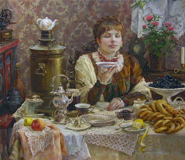 Полина Борисовна Лучанова. Помещица за чаем. 2008