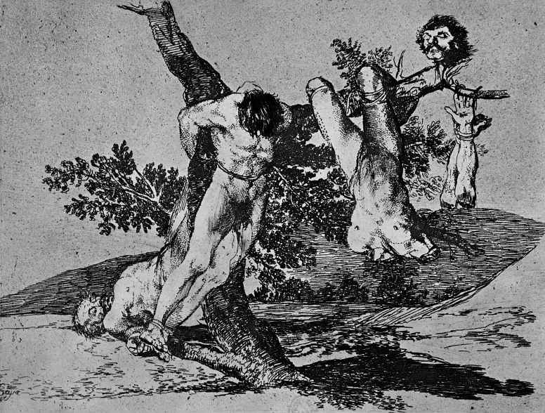 "Francisco Goya. The series ""disasters of war"", page 39: a Glorious feat! [To fight] With the dead!"