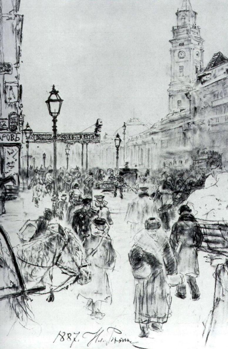 Ilya Efimovich Repin. Nevskiy Prospekt. Fragment