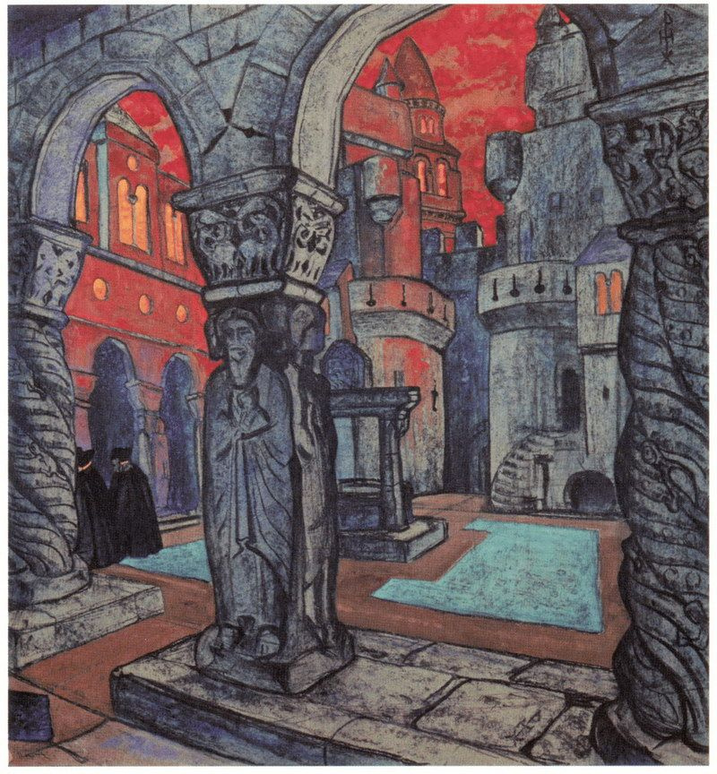 """Nicholas Roerich. The courtyard of the castle. Sketch for a drama """"Princess Malen"""" M. Maeterlinck"""