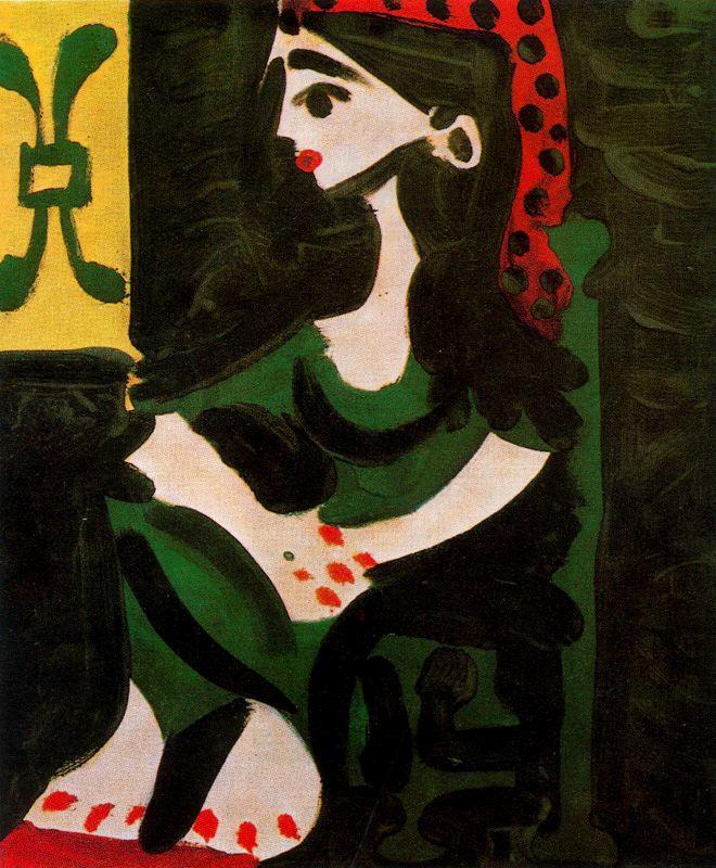 Пабло Пикассо. Сидящая женщина в красной косынке