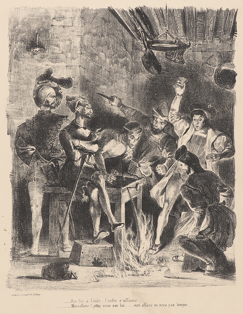 """Eugene Delacroix. Mephistopheles in the tavern with students (for Goethe's """"Faust"""")"""